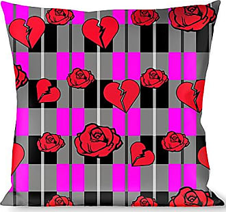 Buckle Down Pillow Decorative Throw Broken Hearts Roses Fuchsia Plaid