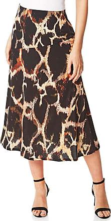Roman Originals Women Animal Print Jersey Midi Skirt - Ladies Everyday Casual Smart Work Occasion Ruffle Hem Fluted Detail Elasticated Waist Longline Skirts - Chocola