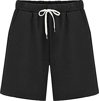 Vdual Womens Wide Leg Elastic Waist Soft Knit Jersey Bermuda Shorts with Drawstring with Pockets Black