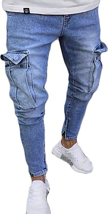 Inlefen Mens Classic Straight Pants Leisure Pocket Slim fit Jeans Distressed Ripped Freyed Pocket Biker Jeans Light Blue 3XL