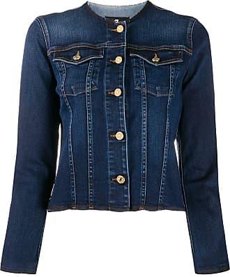 7 For All Mankind Jaqueta jeans sem colarinho - Azul