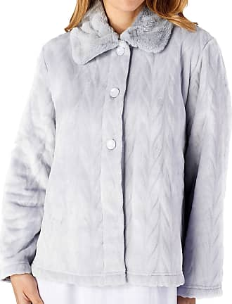 Slenderella Ladies Long Sleeve Thick Soft Grey Velvet Fleece Button Up Bed Jacket with Faux Fur Collar Size 24 26