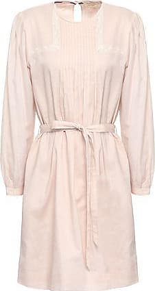 Burberry Burberry Woman Lace-trimmed Pintucked Cotton Mini Dress Blush Size 10