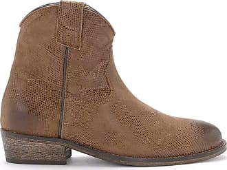 Via Roma 15 Brown Leather Texan Ankle Boots