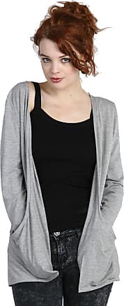 Crazy Girls Red Olives Ladies Long Sleeve Plain Printed Pocket Boyfriend Cardigan Womens Top Sizes 8-26 (3XL-24/26, Light Grey)