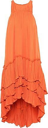 Halston Heritage Halston Heritage Woman Tiered Plissé-paneled Crepe De Chine Dress Orange Size XS