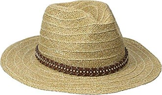 f3f41745a9fa11 San Diego Hat Company Womens Wide Brim Leather Studded Fedora, Natural, One  Size