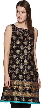 Aurelia Womens Cotton Straight Kurta (19FEA10441-500459_ Black_ Medium)