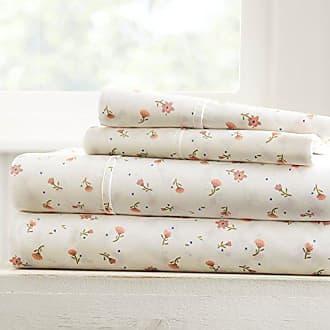 iEnjoy Home Becky Cameron Soft Floral Patterned 4 Piece Sheet Set, Queen, Pink