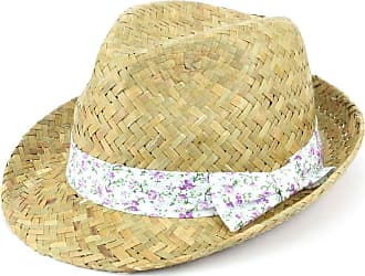 Hawkins Straw Trilby Fedora Hat with Floral Print Band - Purple
