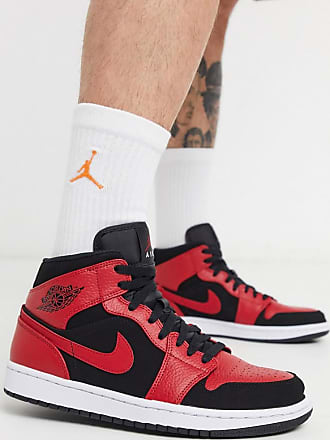 Nike Jordan Nike Air Jordan 1 mid trainer in black and red 554724-054