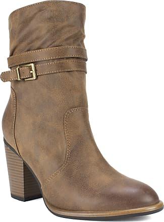 White Mountain Shoes Trust Womens Boot, Cognac/Fabric, 10 M