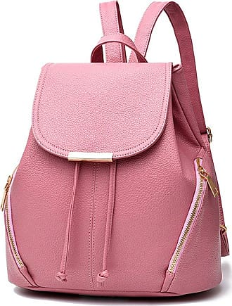 Missmao Womens Ladies Sweet Stylish Mini PU Leather Shopping Handbag Backpack Shoulder Girls Daypack School Bags Pink