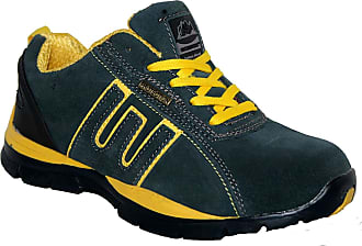 Groundwork LADIES LIGHTWEIGHT LEATHER UPPERS, STEEL TOE CAP LACE UP SAFETY TRAINER. (UK7, blue/yellow)