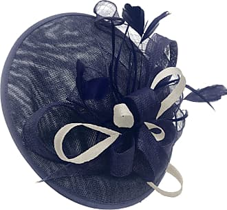 Caprilite Navy and Cream Ivory Sinamay Big Disc Saucer Fascinator Hat for Women Weddings Headband