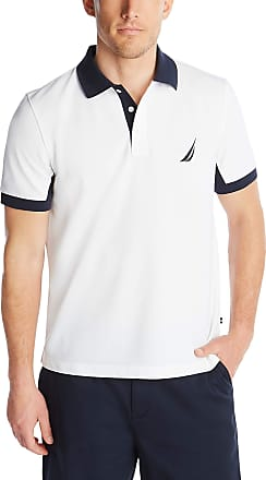 Nautica Mens Classic Fit Short Sleeve Performance Pique Polo Shirt, Bright White, XL