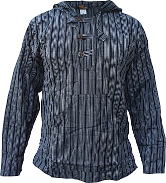 Gheri Mens Striped Cotton Light Grandad Hoodie Kurtas Black XXX-Large