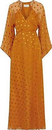 Michelle Mason Michelle Mason Woman Fil Coupé Silk-blend Chiffon Maxi Wrap Dress Saffron Size 10