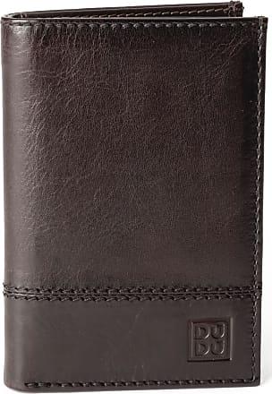 DuDu Portafoglio uomo verticale pelle alta qualità con 9 tasche porta carte tessere DUDU Marrone scuro
