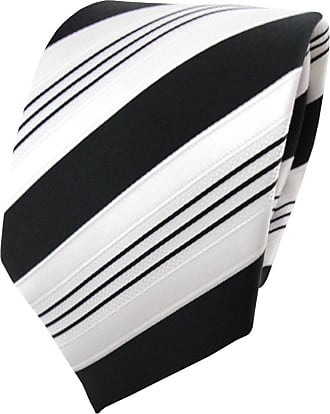TigerTie Satin tie necktie black anthracite white silver striped