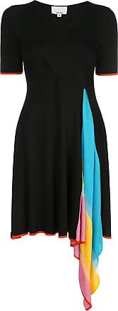 I-am-chen Vestido drapeado com detalhe color block - Preto