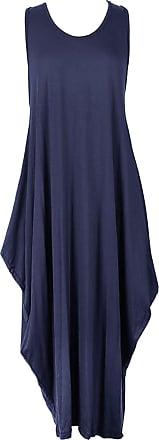 Islander Fashions Womens Sleeveless Parachute Loose Romper Ladies Fancy Lagenlook Long Baggy Dress Navy Blue Medium/Large UK 12-14