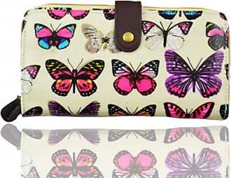 Your Dezire Ladies Girls Butterfly Pattern Large Purse Wallet Card Holder (Beige)
