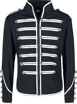 Banned Military Drummer Uniform Jacket Black-Silver XL