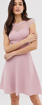 French Connection Rose fit and flare knit dress-Pink