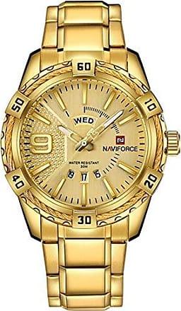 NAVIFORCE Relógio Masculino Dourado Militar Esportivo NAVIFORCE 9117