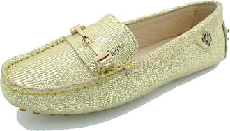 MGM-Joymod Ladies Womens Casual Slip-on Metal Buckle Gold Suede Walking Driving Loafers Flats Moccasins Hiking Shoes 4.5 M UK