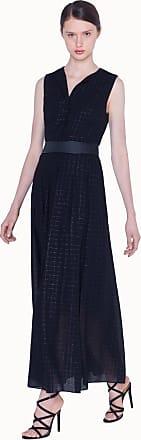 Akris Long Dress in Wool Mousseline Plaid