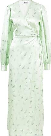 Ganni Seiden-Wickelkleid mit Blumenprint Grün/Multi