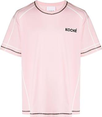 Koché Camiseta com logo e pespontos - Rosa