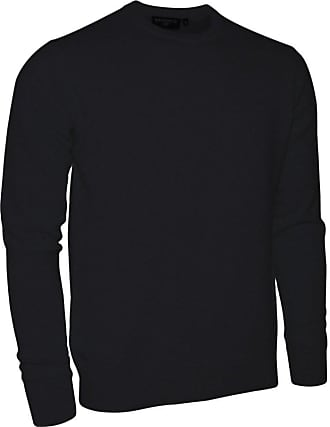Glenmuir Mens HS704 Made in Scotland 100% Cashmere Crew Neck Golf Sweater (XX Large, Black)