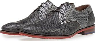 Floris Van Bommel Grauer Leder-Schnürschuh mit Eidechsenprint, Business Schuhe, Handgefertigt