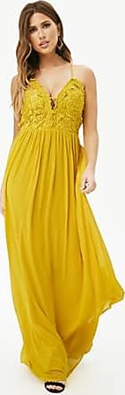 Forever 21 Forever 21 Caged Lace Chiffon Gown Mustard