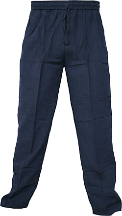 Gheri Mens Cotton Hemp Casual Lounge Trousers Blue XXX-Large