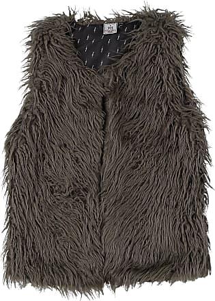 46-q906-926127 Particolare finta pelliccia Gilet in marrone chiaro con motivo-TG