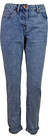 White Label Womens Relaxed Slim Leg Jeans Ankle Length Blue Acid Wash Roll Hem Button Fly Size 8R