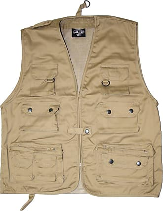 Mil-Tec hunting and fishing vest with 14 pockets and network function Outdoor vest many colors S-4XL NEW (XL, Khaki)