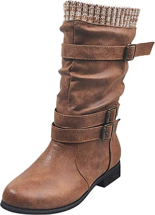 TOMWELL Womens Boots Retro Winter Warm Buckle Strap Shoes Block Heel Zip Boots Snow Outdoor Sports Walking Hiking High Top Shoes Brown 5.5 UK