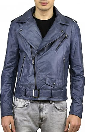 Leather Trend Italy Chiodo Uomo - Giacca in Vera Pelle colore Blu Oil Vintage