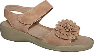 Cushion-Walk Ladies Lightweight Summer Sandal with Touch Close Strap (UK5, Biege)
