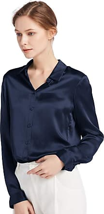 LilySilk Womens 100 Charmeuse Silk Blouse for Lady Long Sleeve Top 22 Momme Pure Silk (XXL/20-22, Navy Blue)