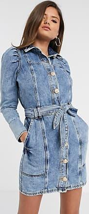 River Island Vestito di jeans blu medio con maniche a sbuffo