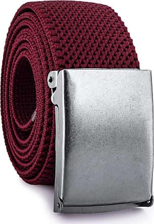 Decalen Mens Nylon Belt with Metal Automatic Buckle Canvas Breathable Men Waist Belt (Maroon)