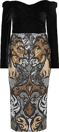 Marchesa Off-the-shoulder Velvet And Sequined Tulle Dress - Black