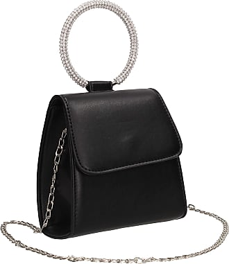 Swankyswans Izzie Diamante Ring Handle Party Evening Clutch Bag Black