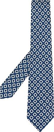 Kiton Gravata com estampa de losangos - Azul